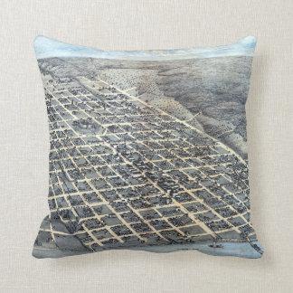 Antique Aerial City Map of Austin, Texas, 1873 Throw Pillow