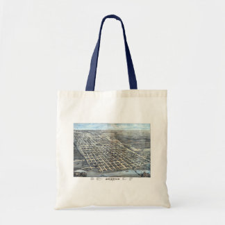 Antique Aerial City Map of Austin, Texas, 1873 Tote Bag