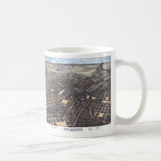 Antique Aerial City Map of San Antonio, Texas 1873 Coffee Mug