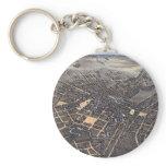 Antique Aerial City Map of San Antonio, Texas 1873 Keychain