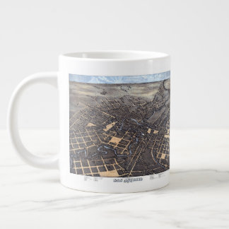 Antique Aerial City Map of San Antonio, Texas 1873 Large Coffee Mug