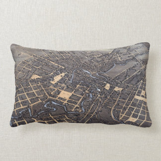 Antique Aerial City Map of San Antonio, Texas 1873 Lumbar Pillow