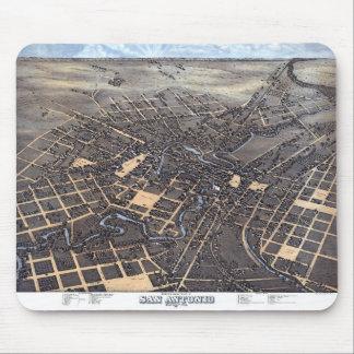 Antique Aerial City Map of San Antonio, Texas 1873 Mouse Pad