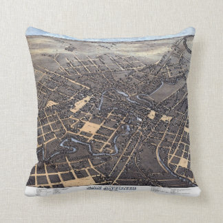 Antique Aerial City Map of San Antonio, Texas 1873 Throw Pillow