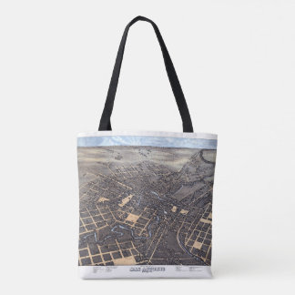 Antique Aerial City Map of San Antonio, Texas 1873 Tote Bag