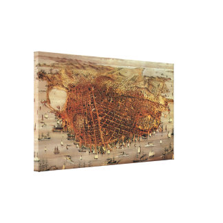 Antique Aerial Map City San Francisco, California Gallery Wrapped Canvas