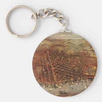 Antique Aerial Map City San Francisco, California Keychain