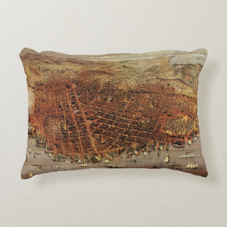 Antique Aerial Map City San Francisco, California Accent Pillow