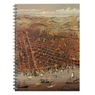 Antique Aerial Map City San Francisco, California Notebook