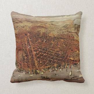 Antique Aerial Map City San Francisco, California Pillow