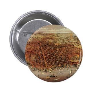 Antique Aerial Map City San Francisco, California Pinback Button