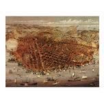 Antique Aerial Map City San Francisco, California Postcard