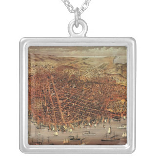 Antique Aerial Map City San Francisco, California Silver Plated Necklace