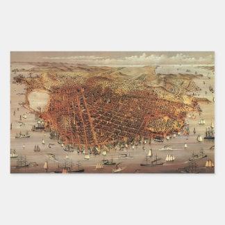 Antique Aerial Map City San Francisco, California Rectangular Sticker
