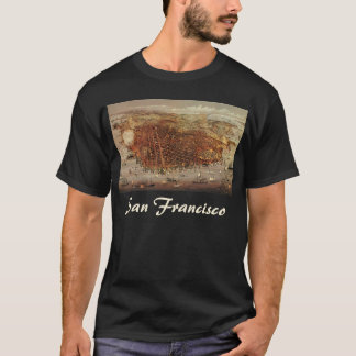 Antique Aerial Map City San Francisco, California T-Shirt