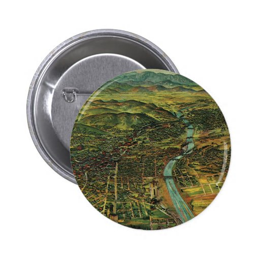 Antique Aerial Map of Los Angeles, California Pinback Button