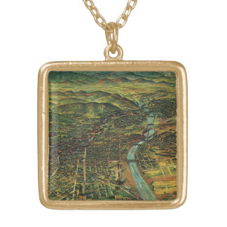 Antique Aerial Map of Los Angeles, California Square Pendant Necklace