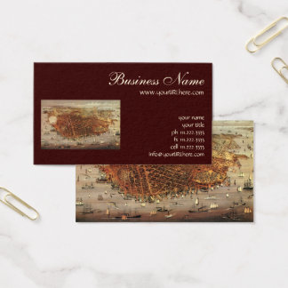 Antique Aerial Map of San Francisco, California Business Card