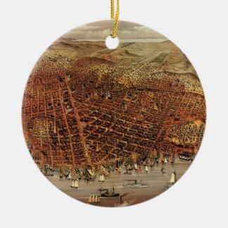 Antique Aerial Map of San Francisco, California Ceramic Ornament