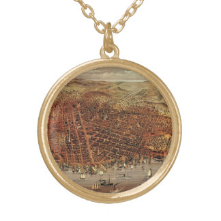 Antique Aerial Map of San Francisco, California Gold Plated Necklace
