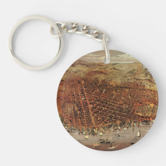 Antique Aerial Map of San Francisco, California Keychain