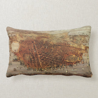 Antique Aerial Map of San Francisco, California Lumbar Pillow