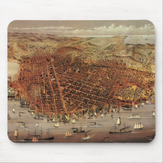 Antique Aerial Map of San Francisco, California Mouse Pad