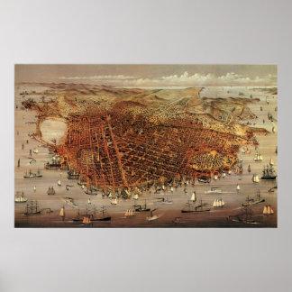 Antique Aerial Map of San Francisco, California Poster