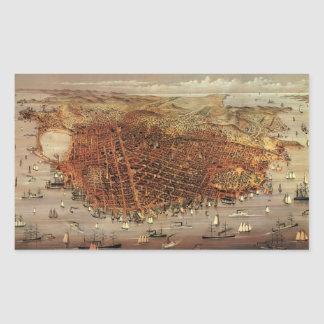 Antique Aerial Map of San Francisco, California Rectangular Sticker
