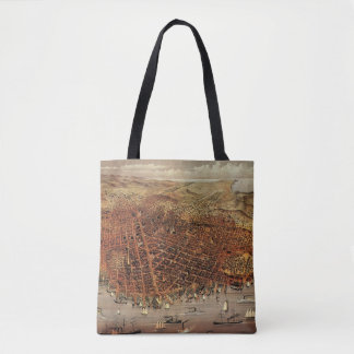 Antique Aerial Map of San Francisco, California Tote Bag