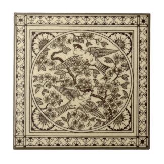 Antique Aesthetic Japanese Sepia Bird Tile Repro