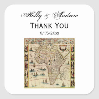 Antique Africa Map DIY Background Color Square Sticker