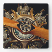 Antique Aircraft Square Wall Clock