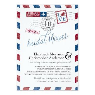 Antique Airmail Bridal Shower 5x7 Paper Invitation Card