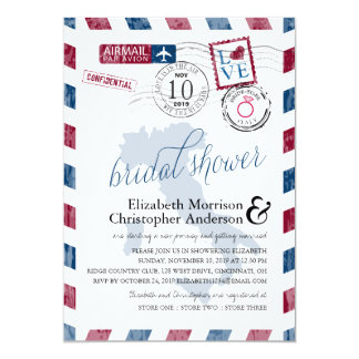 "Antique Airmail Italy | Bridal Shower 5"" X 7"" Invitation Card"