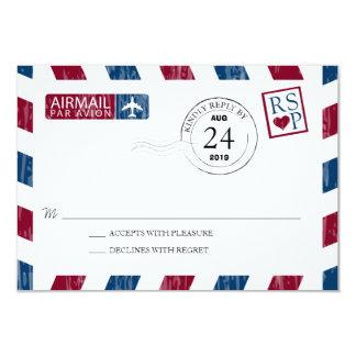 Antique Airmail Wedding RSVP 3.5x5 Paper Invitation Card