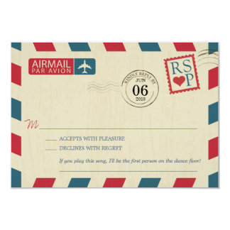 Antique Airmail Wedding RSVP Card