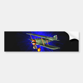 Antique airplane on blue bumper stickers