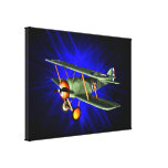 Antique airplane on blue canvas print
