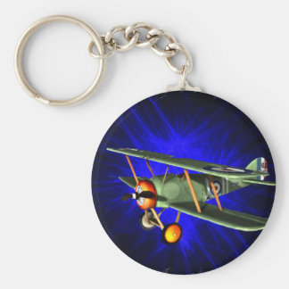 Antique airplane on blue key chain