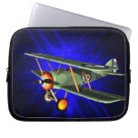 Antique airplane on blue laptop computer sleeves