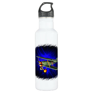 Antique airplane on blue stainless steel water bottle