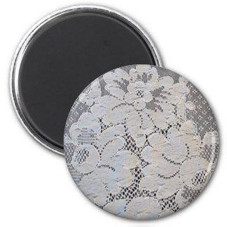 Antique Alencon Lace Floral 2 Inch Round Magnet