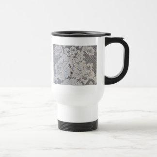Antique Alencon Lace Floral Travel Mug