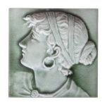 majolica portrait bas relief art, neoclassical