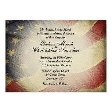 Antique American Flag Wedding Invitation