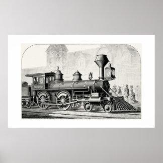 Antique American Locomotive Steam Engine Print