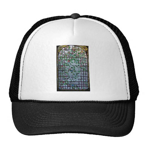 ANTIQUE AMERICAN STAINED GLASS -MORNING GLORY VINE TRUCKER HAT