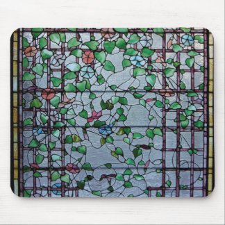 ANTIQUE AMERICAN STAINED GLASS -MORNING GLORY VINE MOUSE PADS