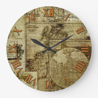 Antique and Vintage Old world maps Clock
